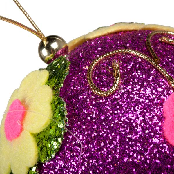 Fuchsia Pink Ball Hanger With Multi Coloured Felt Flowers - 100mm