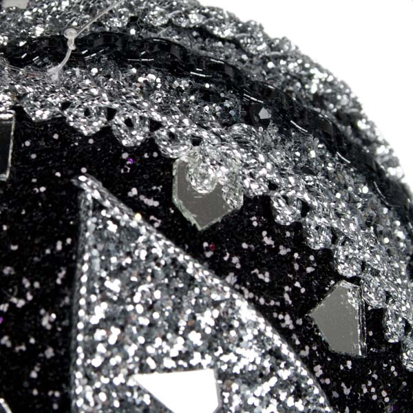 Black & Silver Mirror Beaded Bauble - 100mm