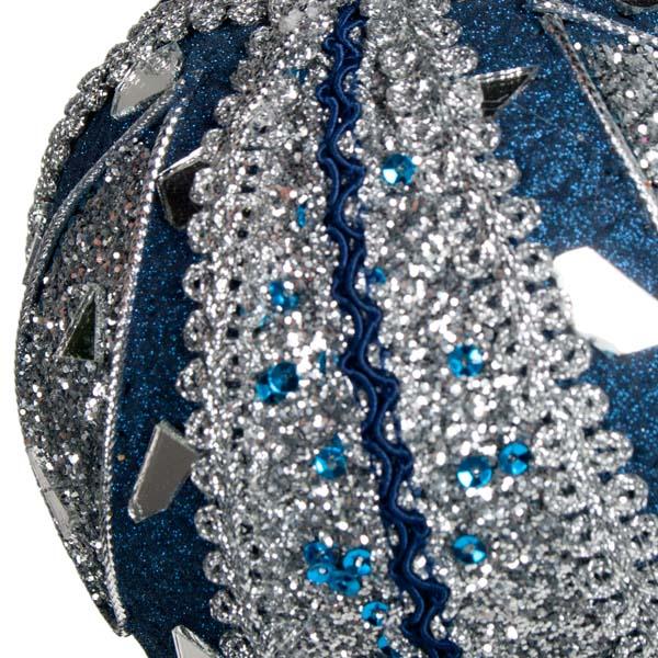 Dark Blue & Silver Mirror Beaded Bauble - 100mm