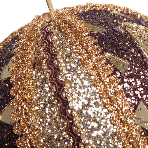 Brown & Gold Mirror Beaded Bauble - 100mm
