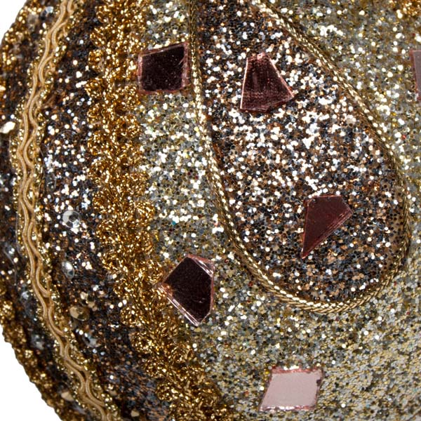Platinum & Taupe Mirror Beaded Bauble - 100mm