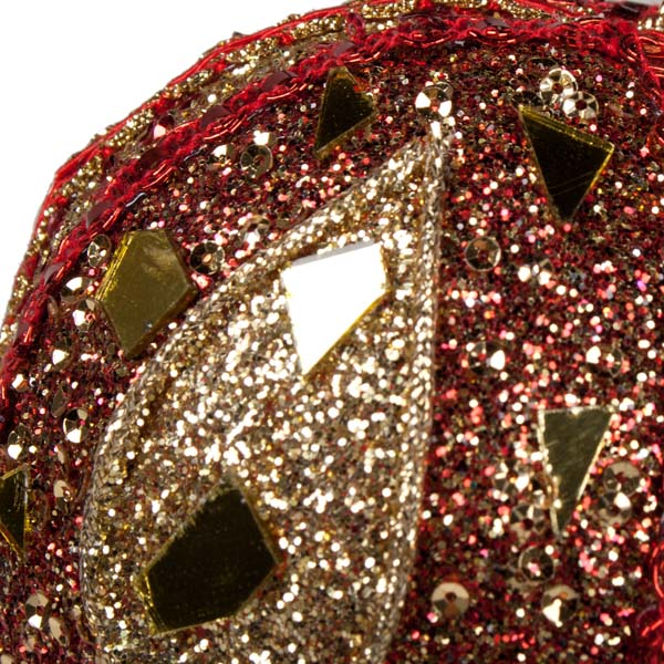 Red & Gold Mirror Beaded Bauble - 100mm