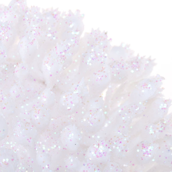 White & Iridescent Spiky Porcupine Bauble - 80mm