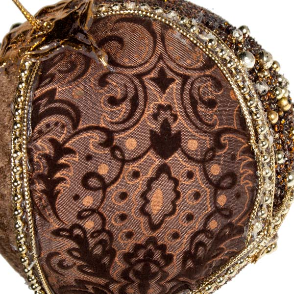 Brown & Gold Fabric & Beaded Bauble - 100mm (021-17918-BR)