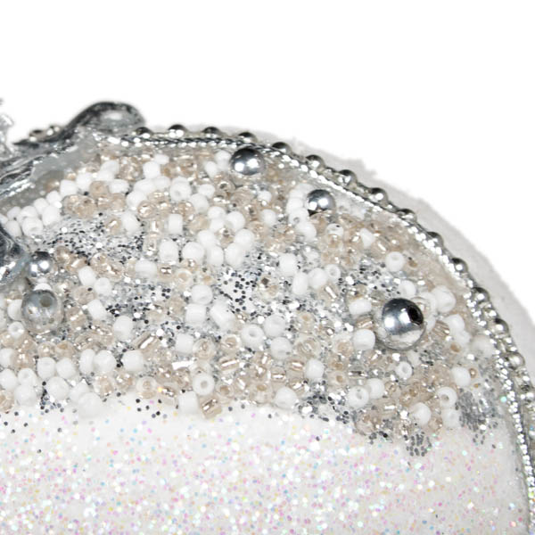 Silver & White Fabric & Beaded Bauble - 100mm