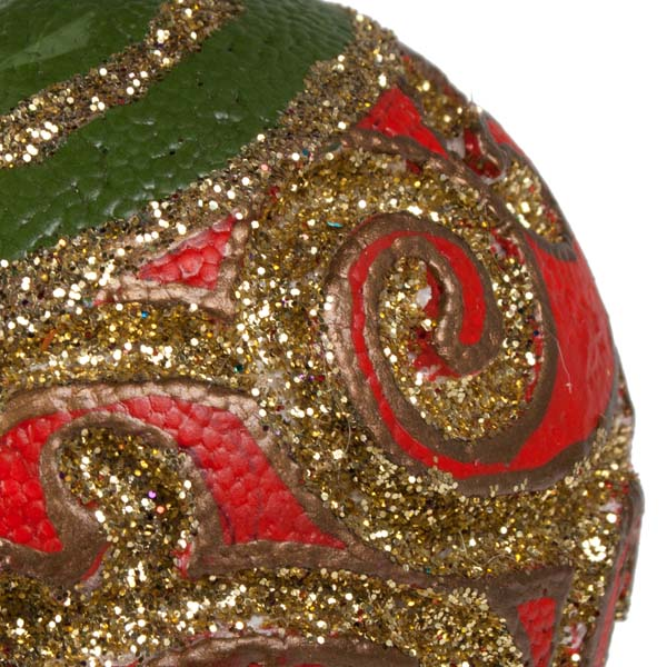 Red, Gold & Green Swirl Bauble - 100mm (021-17927)