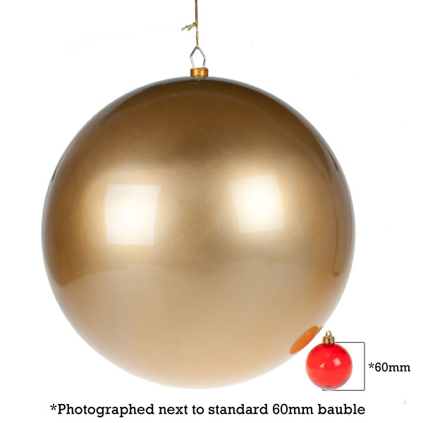 Gold Metallic Finish Shatterproof Bauble - Single 400mm