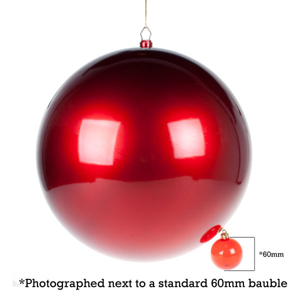 Red Metallic Finish Shatterproof Bauble - Single 400mm