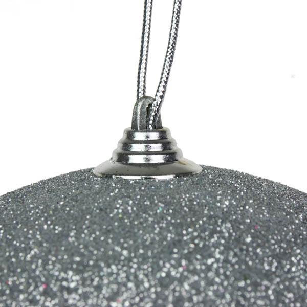 Silver Shatterproof Glitter Bauble - 135mm