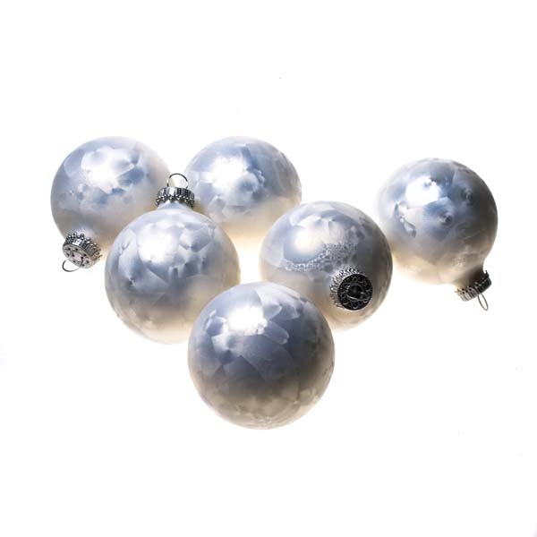 Krebs Glass Pearl Icelock Baubles - 6 x 67mm (021-22417-IC)