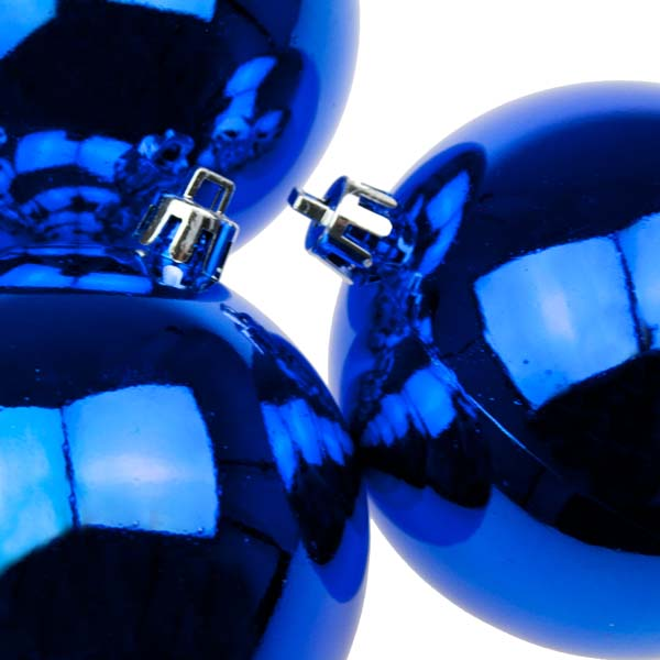 Blue UV Protected Shatterproof Baubles - Pack of 6 x 80mm