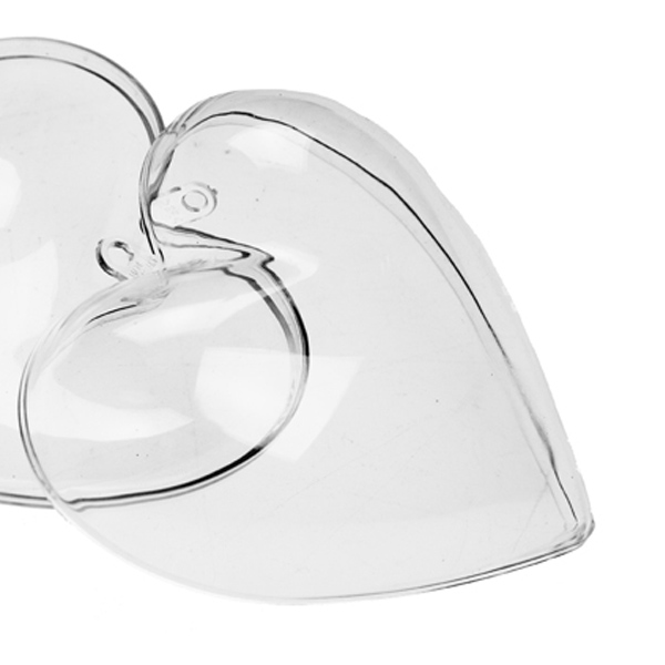 Clear Splittable Heart Shaped Bauble - 80mm