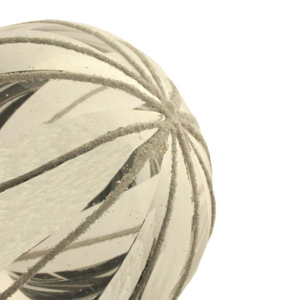 Handblown Glass Silver Transparent & White Stripe Ball - 7cm