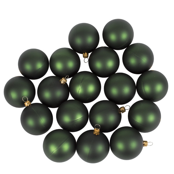 Luxury Green Satin Finish Shatterproof Baubles - Pack of 18 x 60mm