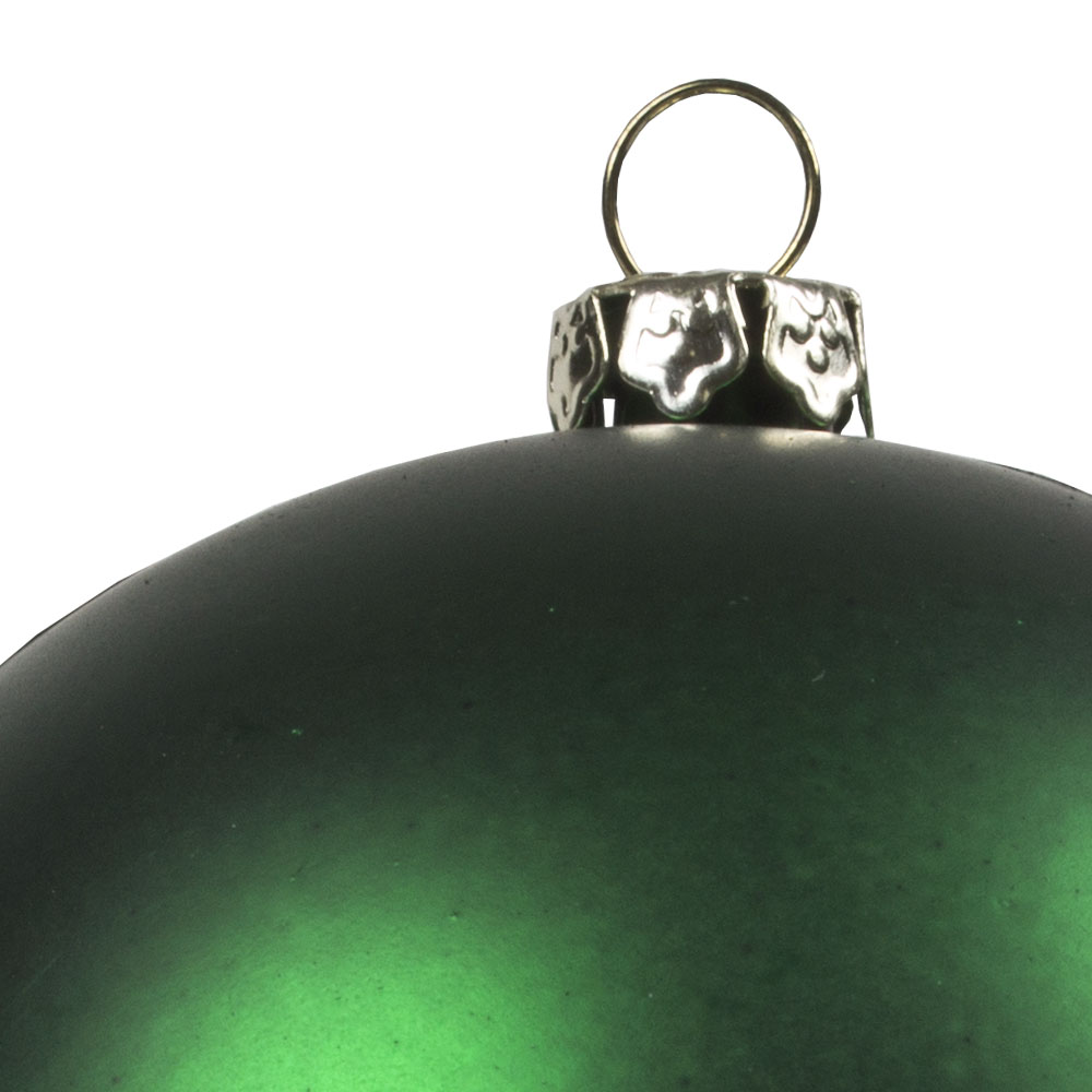 Luxury Green Satin Finish Shatterproof Baubles - Pack of 6 x 80mm