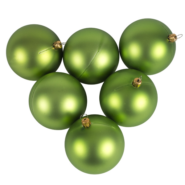 Luxury Lime Green Satin Finish Shatterproof Baubles - Pack of 6 x 80mm