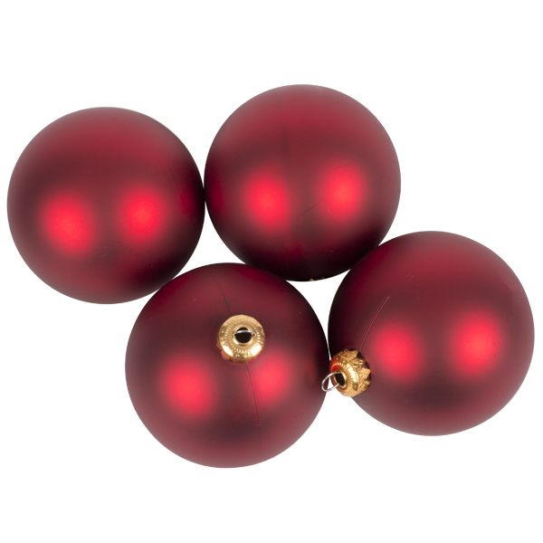 Luxury Red Satin Finish Shatterproof Baubles - Pack of 4 x 100mm