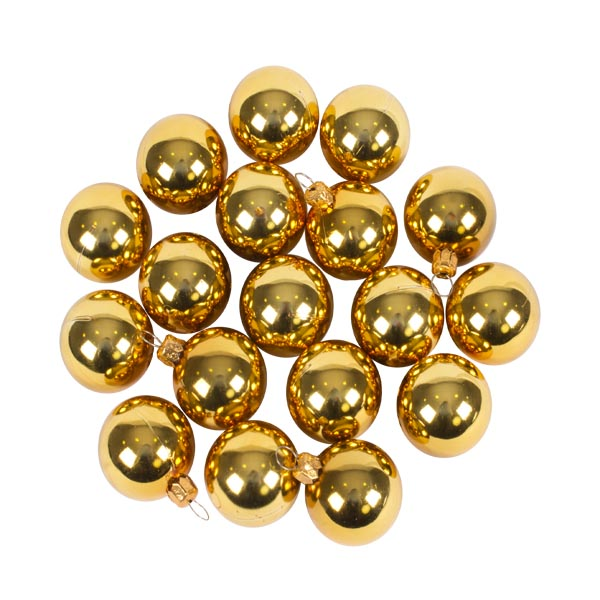 Luxury Gold Shiny Finish Shatterproof Bauble Range - Pack of 18 x 40mm