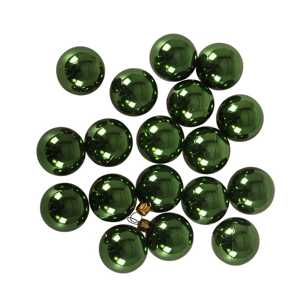 Luxury Green Shiny Finish Shatterproof Bauble Range - Pack of 18 x 40mm