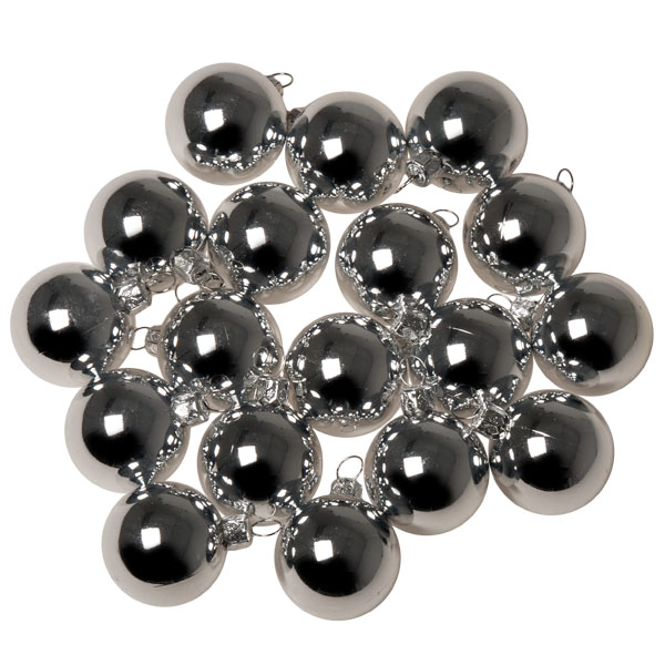 Luxury Silver Shiny Finish Shatterproof Bauble Range - Pack of 18 x 40mm