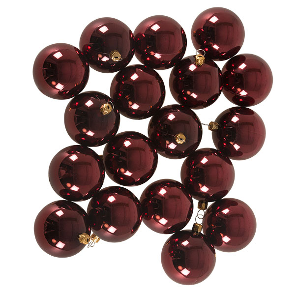 Luxury Burgundy Shiny Finish Shatterproof Bauble Range - Pack of 18 x 60mm