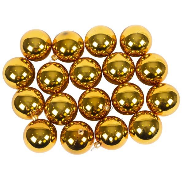 Luxury Gold Shiny Finish Shatterproof Bauble Range - Pack of 18 x 60mm