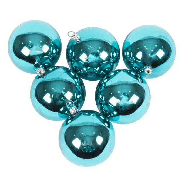 Luxury Aqua Turquoise Shiny Finish Shatterproof Bauble Range - Pack of 6 x 80mm