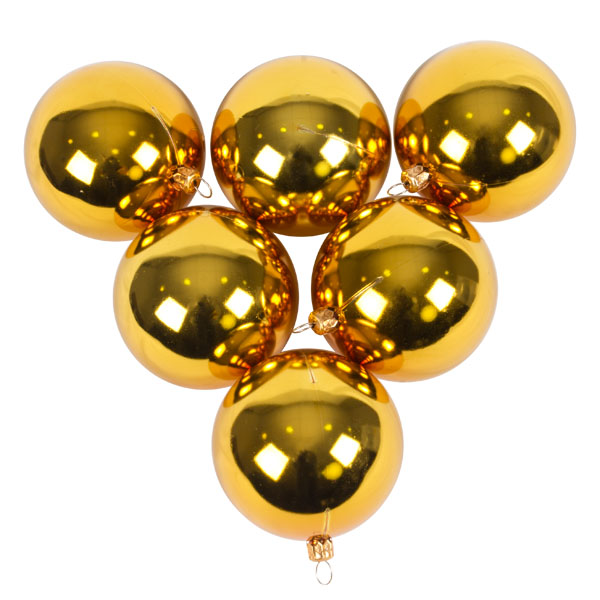 Luxury Gold Shiny Finish Shatterproof Bauble Range - Pack of 6 x 80mm