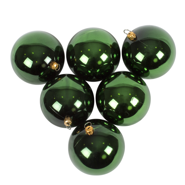 Luxury Green Shiny Finish Shatterproof Bauble Range - Pack of 6 x 80mm