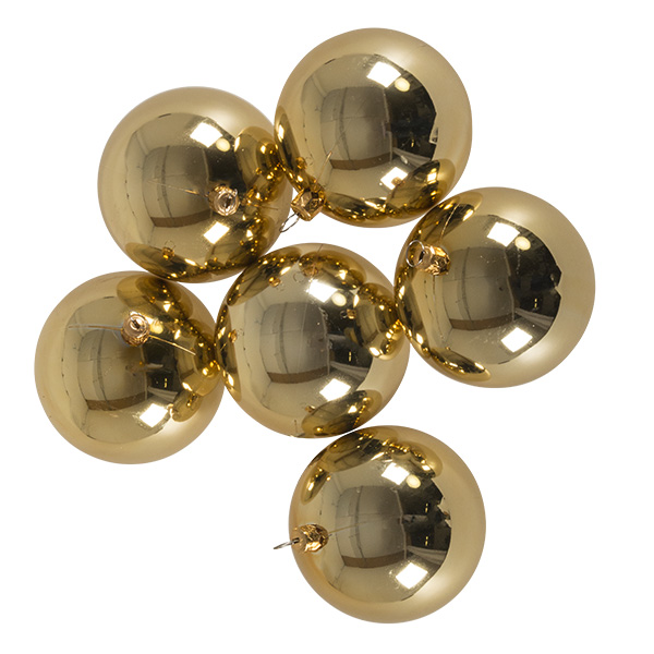 Luxury Pale Gold Shiny Finish Shatterproof Bauble Range - Pack of 6 x 80mm