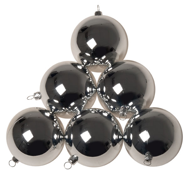Luxury Silver Shiny Finish Shatterproof Bauble Range - Pack of 6 x 80mm