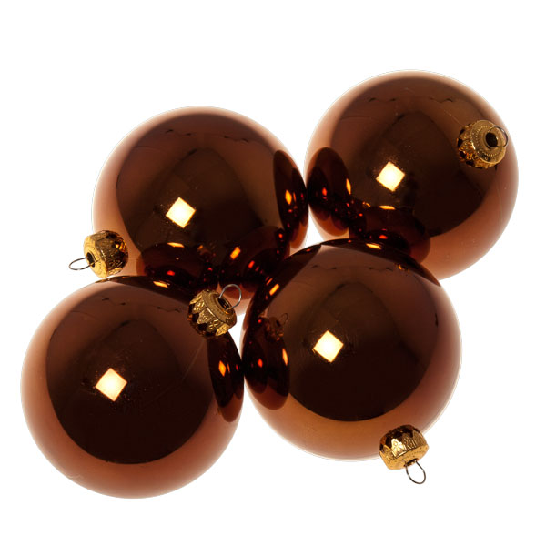Luxury Brown Shiny Finish Shatterproof Bauble Range - Pack of 4 x 100mm
