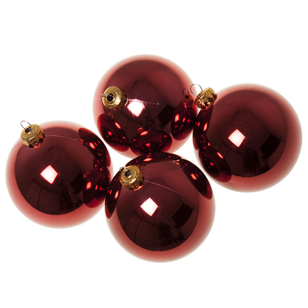 Luxury Burgundy Shiny Finish Shatterproof Bauble Range - Pack of 4 x 100mm
