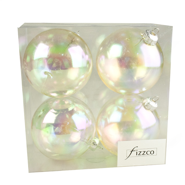 Luxury Clear Iridescent Shiny Finish Shatterproof Bauble Range - Pack of 4 x 100mm