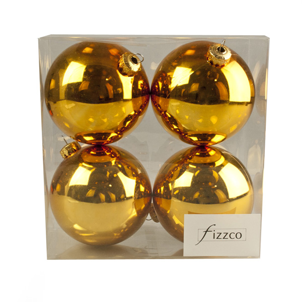 Luxury Gold Shiny Finish Shatterproof Bauble Range - Pack of 4 x 100mm