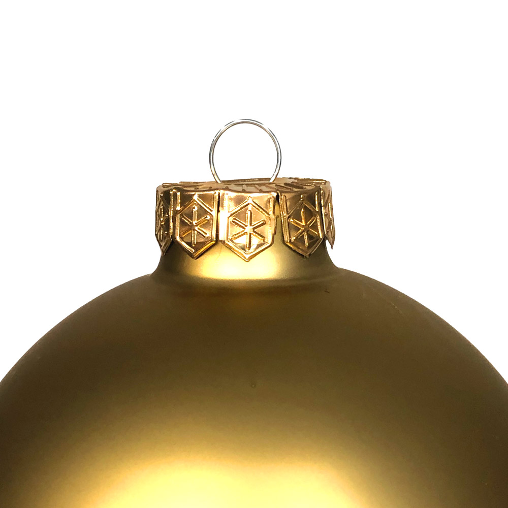 Gold Matt & Shiny Glass Baubles - 9 x 100mm