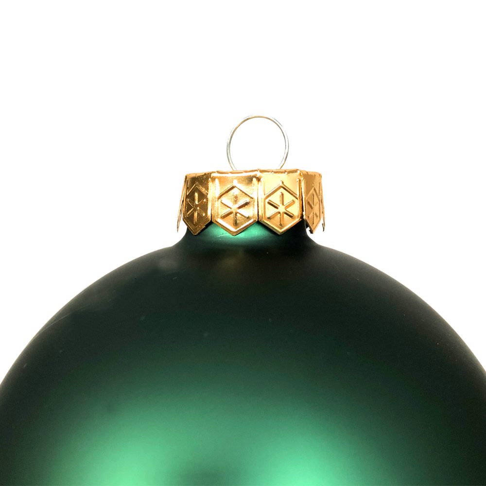 Lake Green Matt & Shiny Glass Baubles - 9 x 100mm