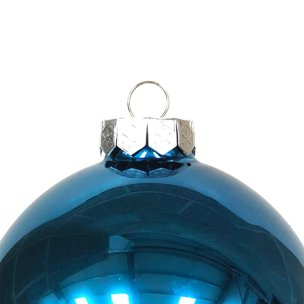 Petrol Blue Matt & Shiny Glass Baubles - 9 x 100mm