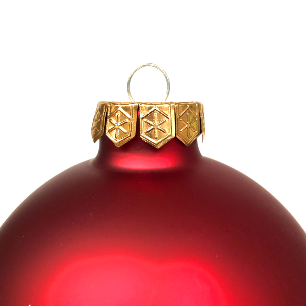 Red Matt & Shiny Glass Baubles - 9 x 100mm