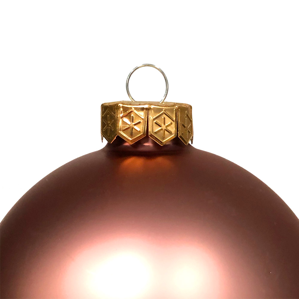 Smokey Rose Matt & Shiny Glass Baubles - 9 x 100mm