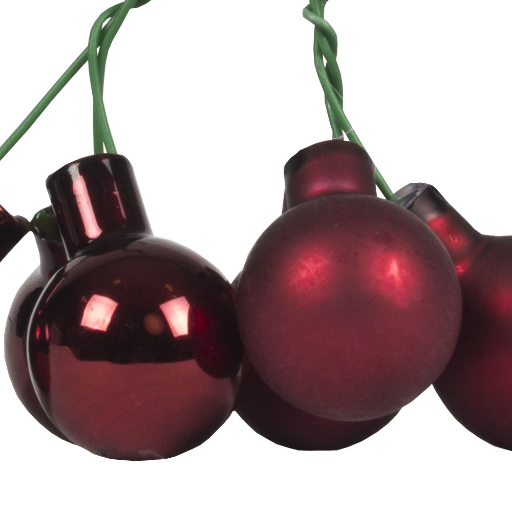 Dark Red Matt & Shiny Glass Baubles - 144 x 20mm