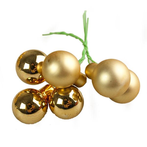 Gold Matt & Shiny Glass Baubles - 144 x 20mm