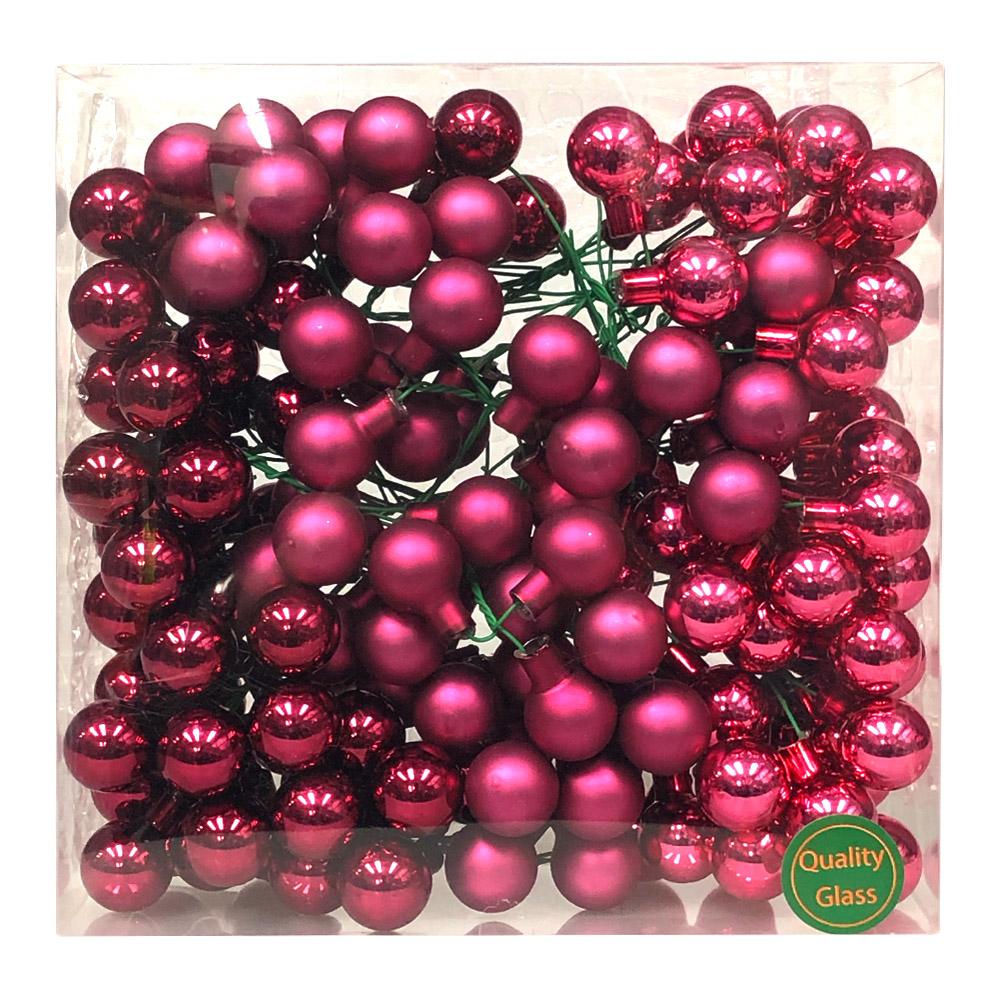 Heather Pink Matt & Shiny Glass Baubles - 144 x 20mm