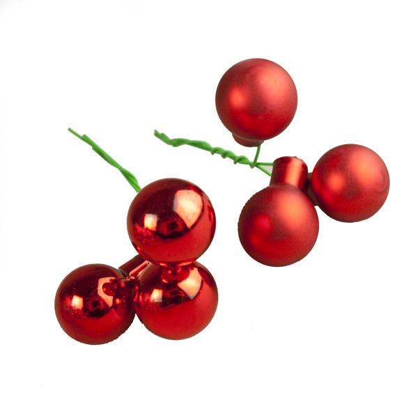 Red Matt & Shiny Glass Baubles - 144 x 20mm