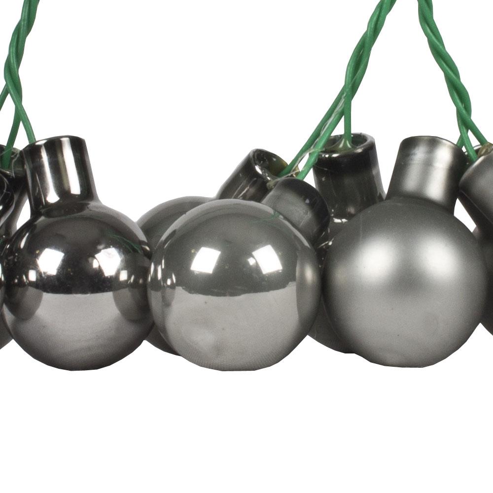 Slate Grey Matt & Shiny Glass Baubles - 144 x 20mm