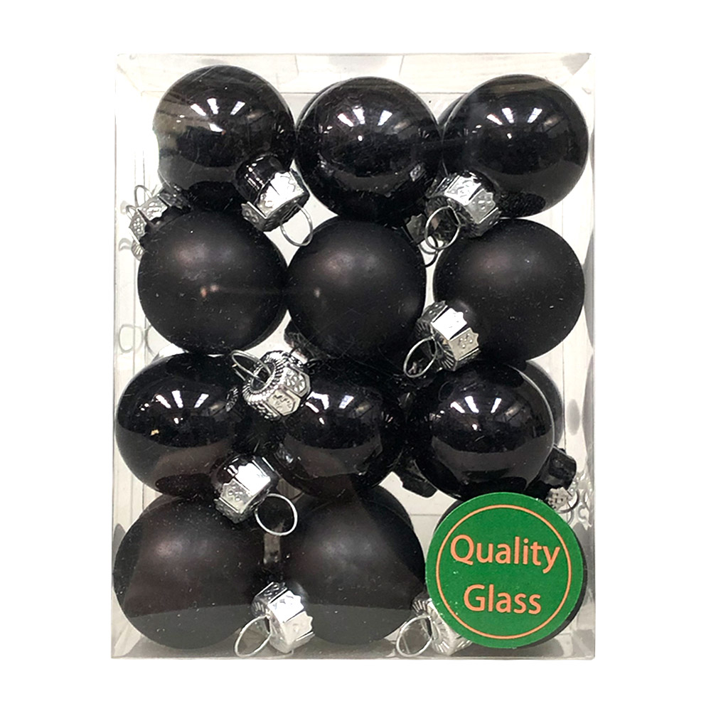 Black Matt & Shiny Glass Baubles - 24 x 25mm