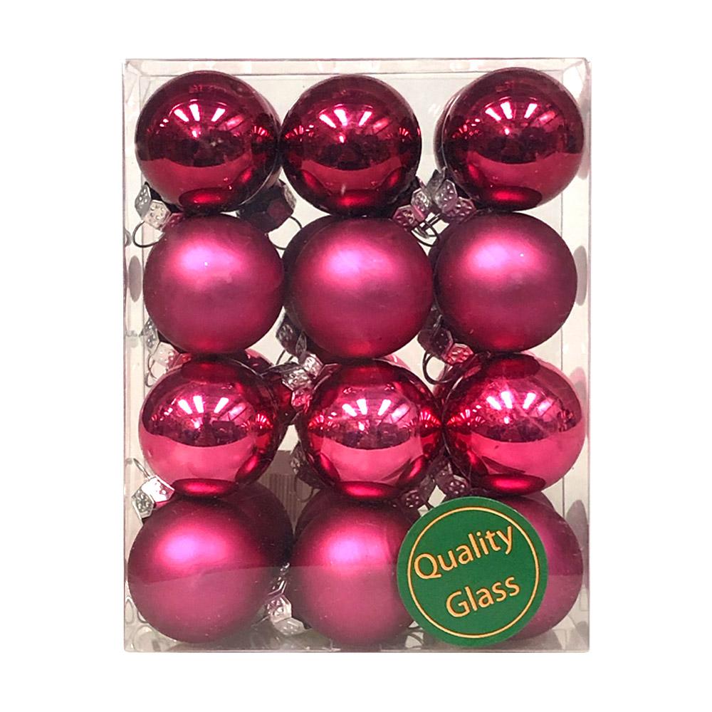 Heather Pink Matt & Shiny Glass Baubles - 24 x 25mm