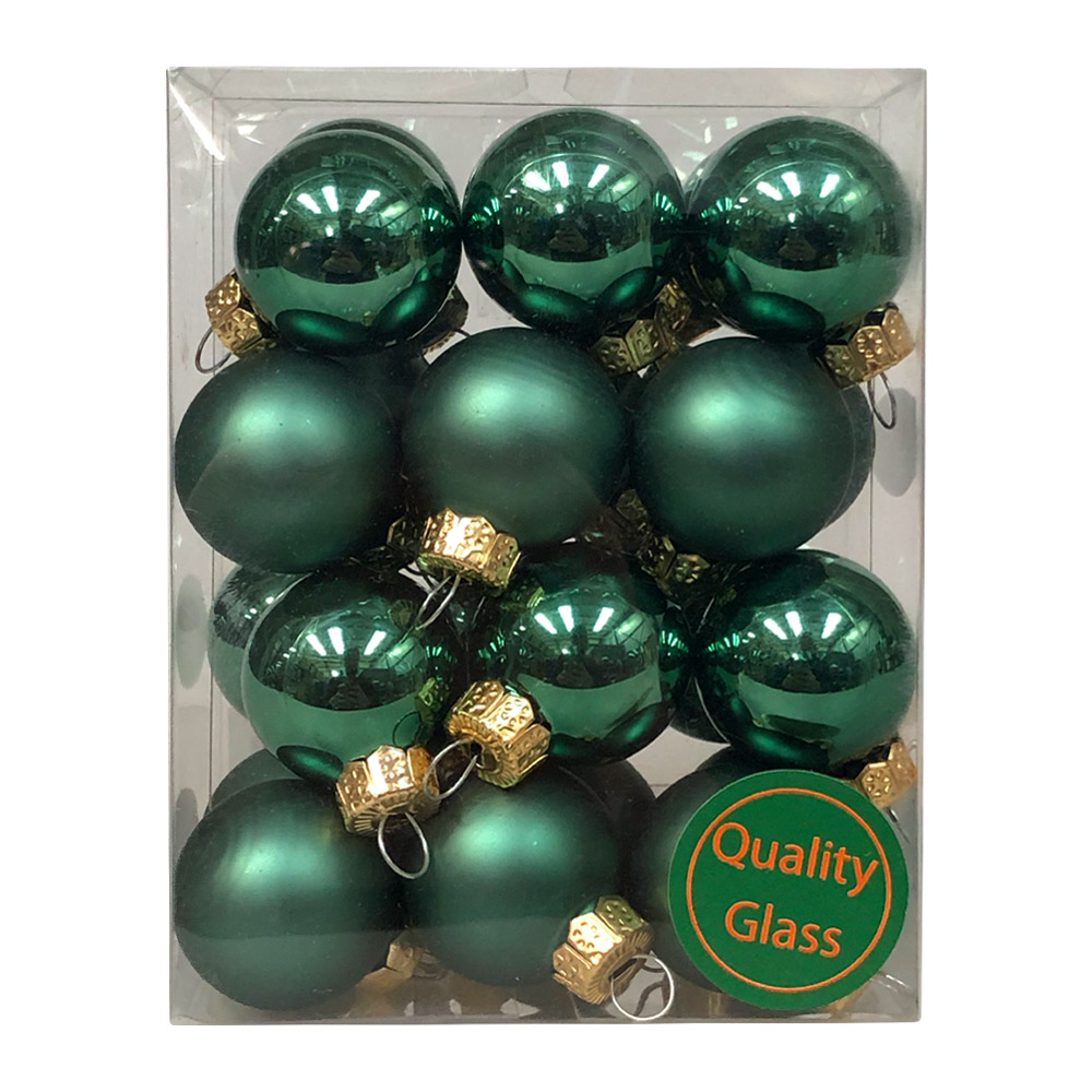 Lake Green Matt & Shiny Glass Baubles - 24 x 25mm