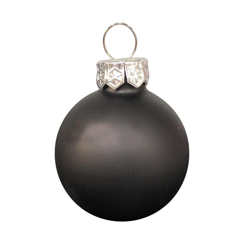 Black Matt & Shiny Glass Baubles - 64 x 40mm