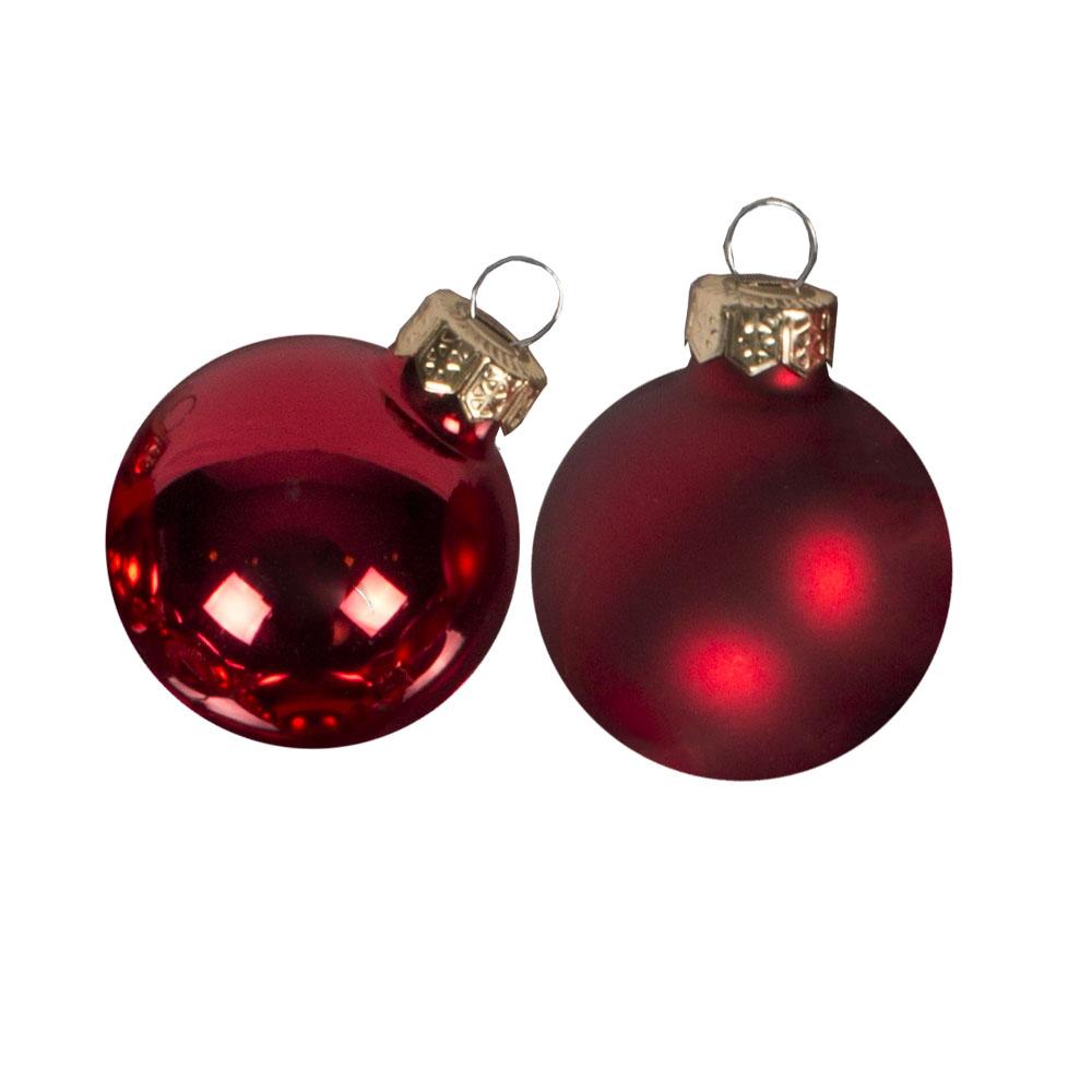 Red Matt & Shiny Glass Baubles - 64 x 40mm